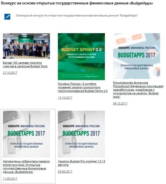 Раздел «Конкурс «Budgetapps» на официальном сайте Росалкогольрегулирования