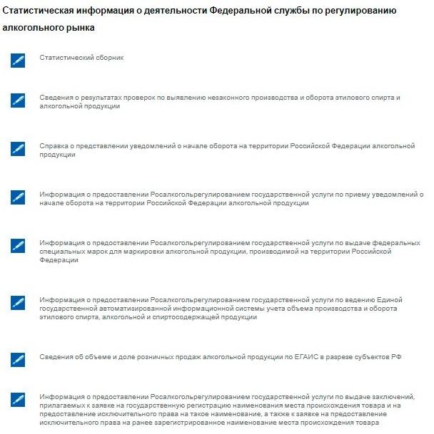 Раздел «Статистическая информация» на официальном сайте Росалкогольрегулирования