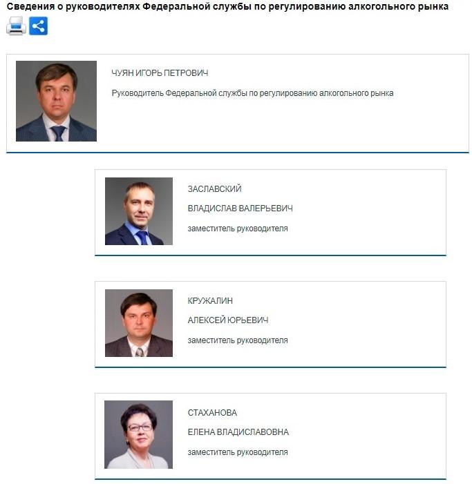 Раздел «Деятельность» на официальном сайте Росалкогольрегулирования